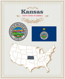 High detailed vector set with flag, coat of arms Kansas. American poster. Greeting card. High detailed vector set with flag, coat of arms, map of Kansas Stock Photography