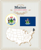 High detailed vector set with flag, coat of arms Maine. American poster. Greeting card. High detailed vector set with flag, coat of arms, map of Maine. American Royalty Free Stock Photos