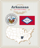 High detailed vector set with flag, coat of arms, map of Arkansas. American poster. Greeting card Royalty Free Stock Images