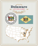 High detailed vector set with flag, coat of arms, map of Delaware. American poster. Greeting card Stock Photography