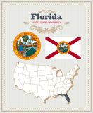High detailed vector set with flag, coat of arms, map of Florida. American poster. Greeting card Royalty Free Stock Photography