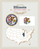 High detailed vector set with flag, coat of arms, map of Illinois. American poster. Greeting card Royalty Free Stock Photo