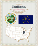 High detailed vector set with flag, coat of arms, map of Indiana. American poster. Greeting card Royalty Free Stock Image