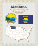 High detailed vector set with flag, coat of arms, map of Montana. American poster. Greeting card. From United States of America. Colorful design Stock Images