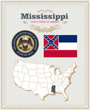 High detailed vector set with flag, coat of arms Mississippi. American poster. Greeting card. High detailed vector set with flag, coat of arms, map of Stock Photo