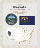 High detailed vector set with flag, coat of arms Nevada. American poster. Greeting card Stock Images