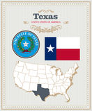 High detailed vector set with flag, coat of arms Texas. American poster. Greeting card Royalty Free Stock Photography