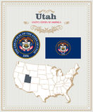 High detailed vector set with flag, coat of arms Utah. American poster. Greeting card. High detailed vector set with flag, coat of arms, map of Utah. American Stock Photo