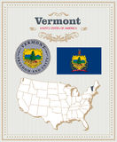 High detailed vector set with flag, coat of arms Vermont. American poster. Greeting card. High detailed vector set with flag, coat of arms, map of Vermont Stock Photography