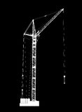 High detailed vector of white hoisting crane on black background Royalty Free Stock Photo