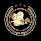 High detailed vintage golden movie cam icon. Royalty Free Stock Images