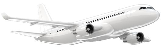 High detailed white airliner, 3d render on a white background. Airplane Take Off, isolated 3d illustration. Airline. Concept Travel Passenger plane. Jet Royalty Free Stock Photography