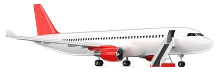 High detailed white airliner with a red tail wing, 3d render on a white background. Airplane with open boarding ladder. Isolated 3d illustration. Airline Royalty Free Stock Photography