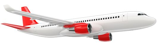 High detailed white airliner with a red tail wing, 3d render on a white background. Airplane Take Off, isolated 3d. Illustration. Airline Concept Travel Stock Image