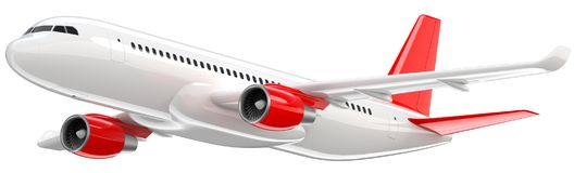 High detailed white airliner with a red tail wing, 3d render on a white background. Airplane Take Off, isolated 3d. Illustration. Airline Concept Travel Royalty Free Stock Images