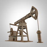 High detailed wood pump-jack, oil rig. isolated  rendering.  fuel industry, economy crisis illustration. Royalty Free Stock Photo