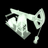 High detailed x-ray pump-jack, oil rig. isolated  rendering.  fuel industry, economy crisis illustration. Royalty Free Stock Photography