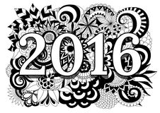2016 on high detailed zentangle floral black and white background Royalty Free Stock Image
