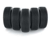 High detaled tyres  on white background. 3d render of high detaled tyres  on white background Royalty Free Stock Photo