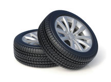 High detaled winter tyres  on white background Royalty Free Stock Photography