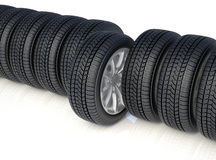 High detaled winter tyres  on white background. 3d render of high detaled winter tyres  on white background Stock Images