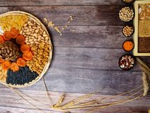 Nuts seeds dried apricot raisin, cereal food high in antioxidants, anthocyanins, smart carbs and vitamins. High dietary fibre health food concept, nuts and seeds royalty free stock photos