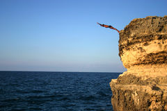 High Dive. Salento puglia, Italy. great places to dive, where nature has it's own architects at work stock photography