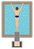 High Diver. Birds eye view of man diving off of platform into swimming pool Stock Photo