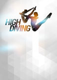 High diving background. High diving sport invitation advert background with empty space Royalty Free Stock Images