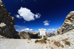 High Dolomites pass with directions Stock Image