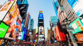 Times Square New York City Sunset Timelapse. High dynamic range 4K super fine timelapse developed from raw photo files. Crazy busy people, traffic and LED walls stock video footage