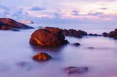 High dynamic range technique seascape in twilight Stock Photos