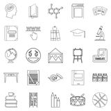 High education icons set, outline style. High education icons set. Outline set of 25 high education vector icons for web isolated on white background Stock Image
