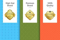 High End Brand Premium Quality 100 Golden Label. On colorful leaflets set, promo advertising certificates with golden labels, vector banners gold seals Royalty Free Illustration