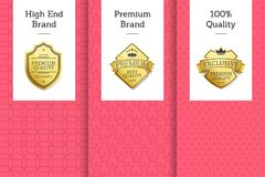High End Brand Premium 100 Quality Golden Labels. Set on promo posters with place for text in pink and white colors, vector emblems on certificates stock illustration