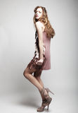 High-End Fashion Model. With curly hair Stock Images
