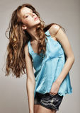 High-End Fashion Model with curly hair. This image has attached release Stock Photos