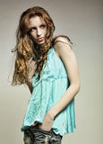 High-End Fashion Model with curly hair. This image has attached release Stock Image