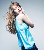 High-End Fashion Model with curly hair Stock Photo