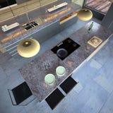 High-end kitchen. Luxury modern open-plan designer kitchen Stock Photos