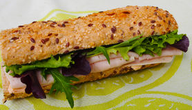 High energy breakfast Spanish sandwich with turkey ham, cheese and green salad Royalty Free Stock Photography