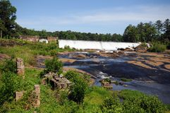 High Falls dam. Georgia dam and falls with old brick structure remains stock photo