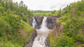 High Falls at US/Canadian border at Grand Portage State Park Minnesota stock images