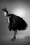High fashion asian model. In couture black dress Stock Photography