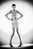 High fashion girl green dress black and white Stock Images