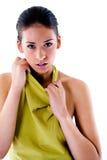High fashion girl in green dress flirting Royalty Free Stock Photos