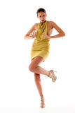 High fashion girl in green dress playing stock photography