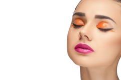 High fashion look, closeup beauty woman portrait Stock Image