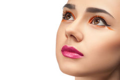 High fashion look, closeup beauty woman portrait. High fashion look, closeup beauty portrait of beautiful young woman model with bright makeup, perfect clean Royalty Free Stock Photo