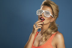 High fashion look. glamor lifestyle blond woman Stock Images